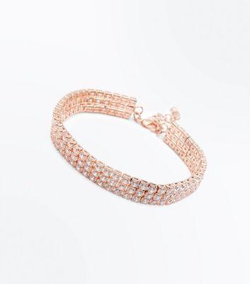 Rose Gold Cubic Zirconia Bracelet New Look