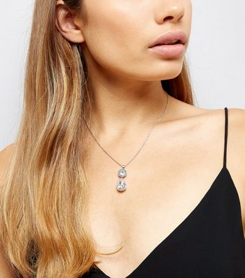 Silver Cubic Zirconia Embellished Pendant Necklace New Look