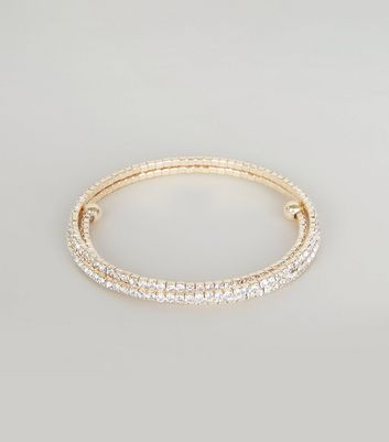 Gold Sparkly Cupchain Arm Cuff New Look