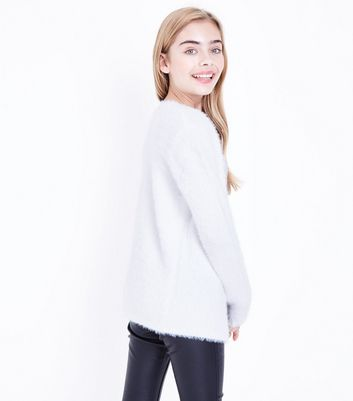 Teens Cream Faux Angora Oversized Cardigan New Look