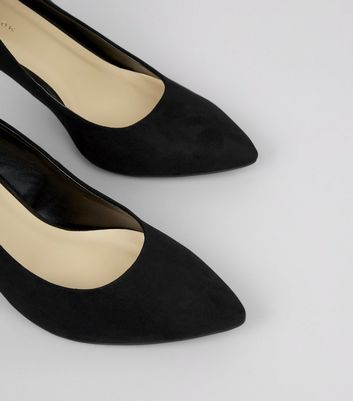 Black Suedette Cone Heel Court Shoes New Look