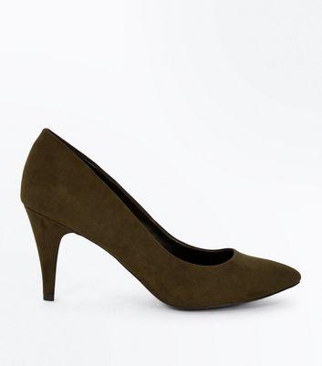 Khaki Suedette Cone Heel Court Shoes New Look