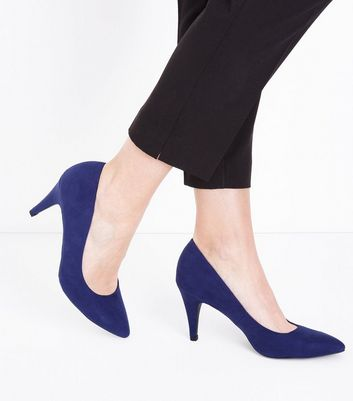 Navy Suedette Cone Heel Court Shoes New Look