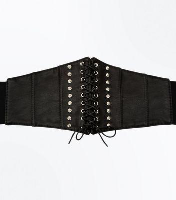 Curves Black Wide Corset Belt New Look