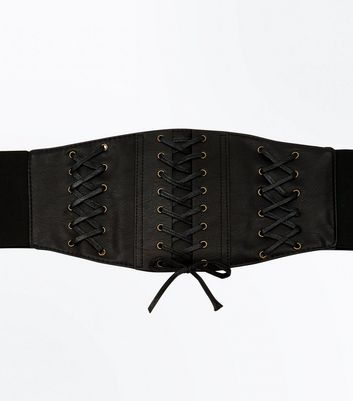 Curves Black Triple Lattice Corset Belt New Look