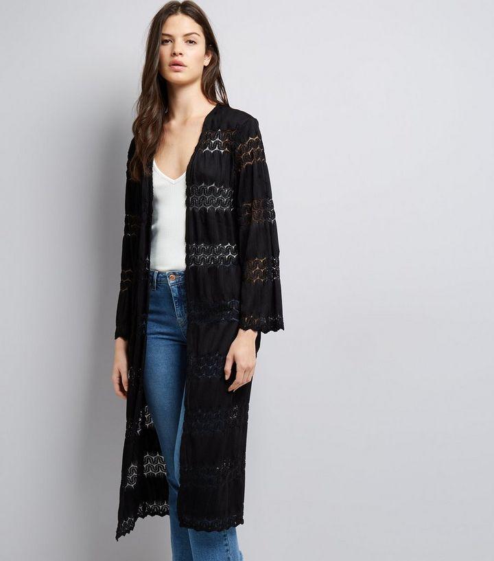 054c8f5b9 Cameo Rose Black Crochet Lace Maxi Kimono | New Look