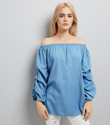 Pale Blue Ruched Sleeve Bardot Neck Top New Look
