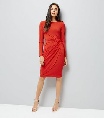 Red Ruched Side Bodycon Dress New Look