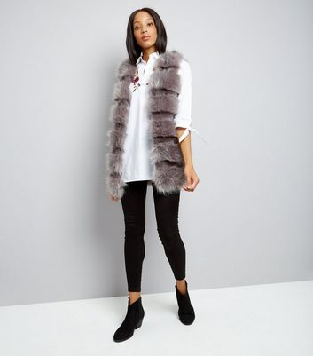 Cameo Rose Grey Faux Fur Gilet New Look