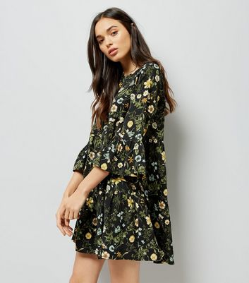 Black Floral Bell Sleeve Tiered Smock Dress New Look