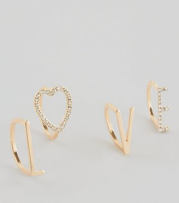 4 Pack Gold 'Love' Slogan Rings New Look