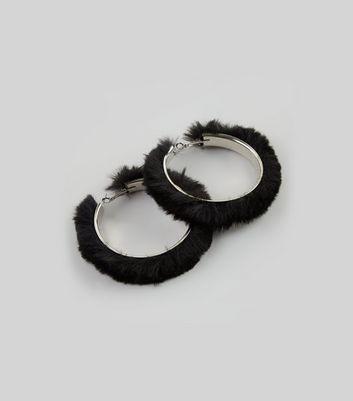 Black Fluffy Hoop Earrings New Look