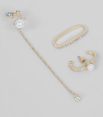 3 Pack Gold and Pearl Stud Earcuffs New Look