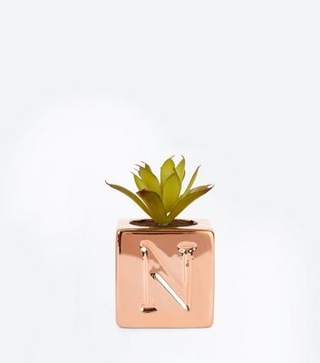 Rose Gold 'N' Initial Faux Plant New Look