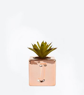 Rose Gold 'J' Initial Faux Plant New Look