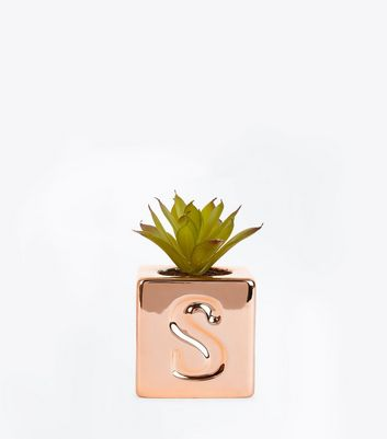 Rose Gold S Initial Cube Planter