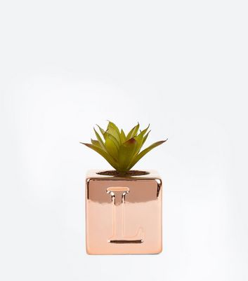 Rose Gold L Initial Cube Planter
