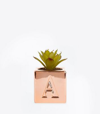 Rose Gold 'A' Initial Faux Plant