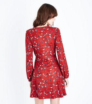 Red Floral Pattern Wrap Front Dress New Look