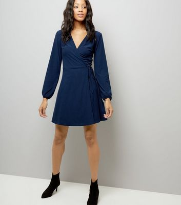 Navy Jersey Wrap Dress New Look