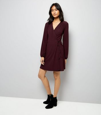 Burgundy Jersey Wrap Dress New Look