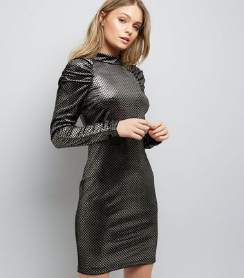 Black Metallic Check Puff Sleeve Dress New Look