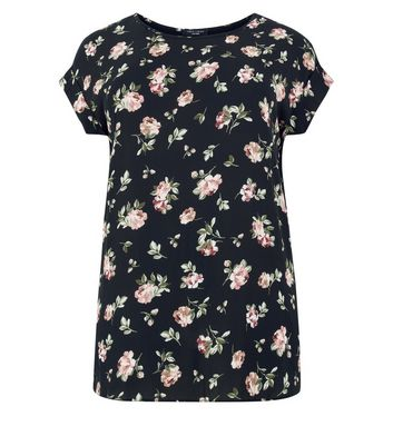 Curves Black Floral Woven Front Longline Top New Look