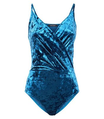 Teal Velvet Wrap Front Bodysuit New Look