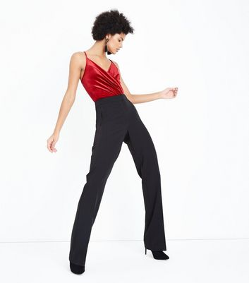 Red Velvet Wrap Front Bodysuit New Look