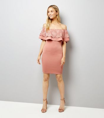 Pink Lace Frill Trim Bardot Neck Bodycon Dress New Look