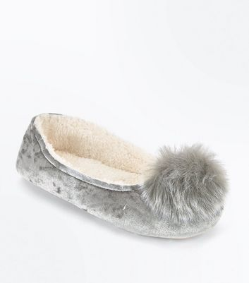 Grey Velvet Pom Pom Ballet Slippers New Look