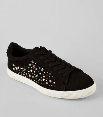Black Suedette Embellished Lace Up Trainers New Look