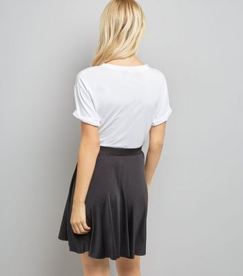 Black Mini Skater Skirt New Look