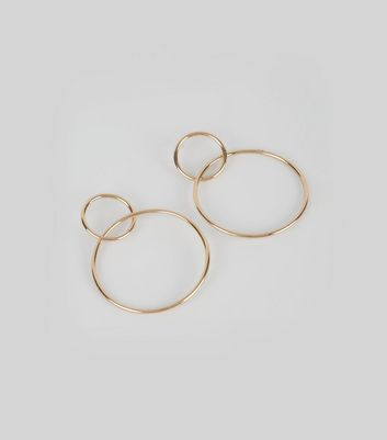 Gold Interlinking Small and Large Hoop Earrings New Look