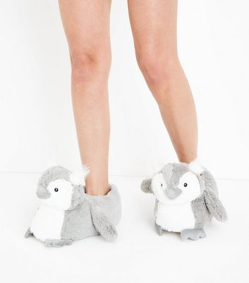Grey Fluffy Owl Slippers New Look