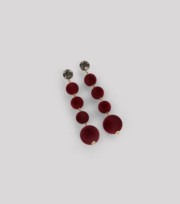 Red Orb Drop Earrings New Look