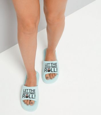 Mint Green Sushi Slogan Slippers New Look