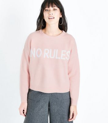 Shell Pink No Rules Slogan Jumper New Look