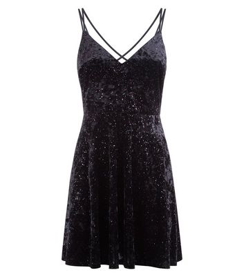 Black Glitter Velvet Lace Up Back Skater Dress New Look