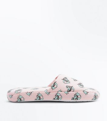 Pink Mermaid Print Slider Slippers New Look