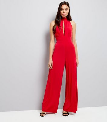 Red Tie Back Slit Front Jumpsuit New Look