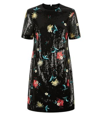 Black Premium Sequin Floral Embroidered Tunic Dress New Look