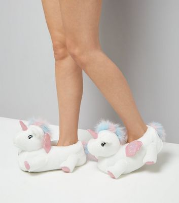 White Unicorn Slippers New Look