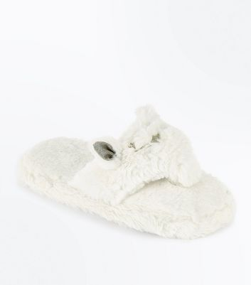 White Faux Fur Cat Flip Flop Slippers New Look