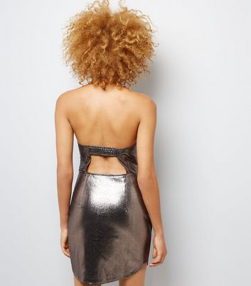 Chrome Metallic Halterneck Bodycon Mini Dress New Look