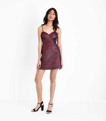 Deep Pink Metallic Crinkle Mini Dress New Look