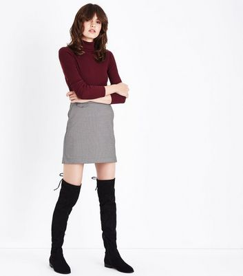 Brown Check Pocket Front A-Line Mini Skirt New Look