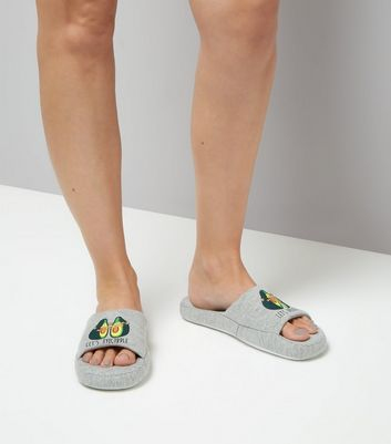 Grey Let's Avocuddle Slider Slippers New Look