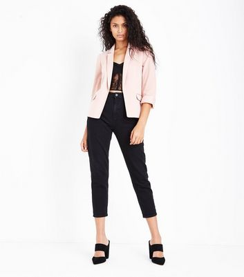 Shell Pink Rolled Sleeve Blazer New Look