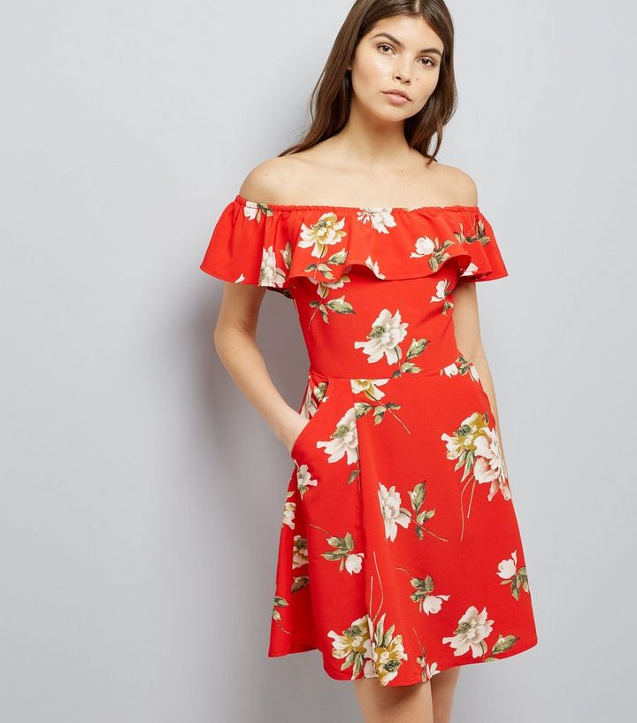 2261dac1fdb11 Cameo Rose Red Floral Print Bardot Neck Dress Add to Saved Items Remove  from Saved Items